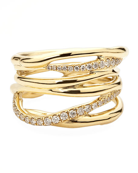 Drizzle 18k Gold Diamond Crossover Ring