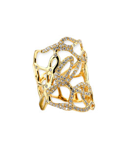Ippolita Drizzle Wide Gold Diamond Cutout Ring