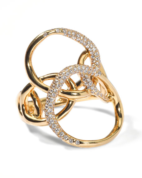 Drizzle Gold Diamond Petal Ring