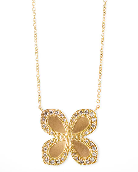 Flower-Pendant Diamond 18k Gold Necklace