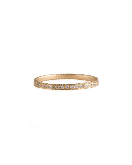 Thin Pave White Diamond Band Ring