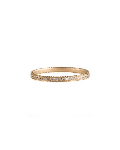Thin Pave White Diamond Band Ring