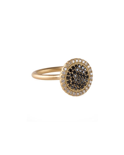 18k Gold Pave Diamond Scalloped Ring
