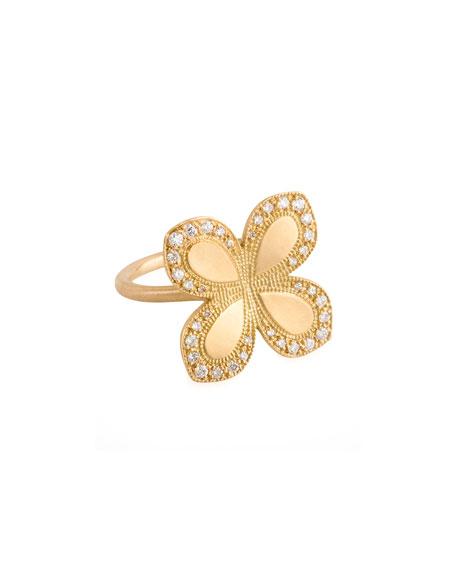 18k Gold Pave Diamond Flower Ring