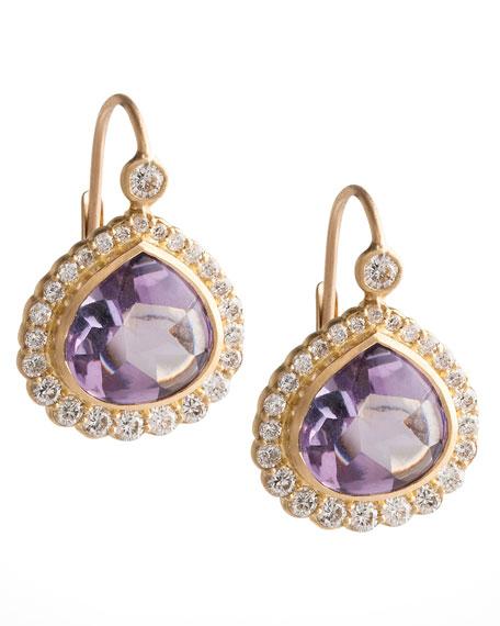 Bisou Diamond Edge Amethyst Drop Earrings