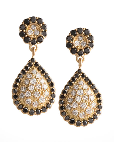 Small Pave Diamond Pear Earrings