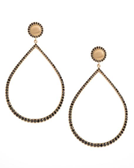 Large Pave Black Diamond Pear Earrings