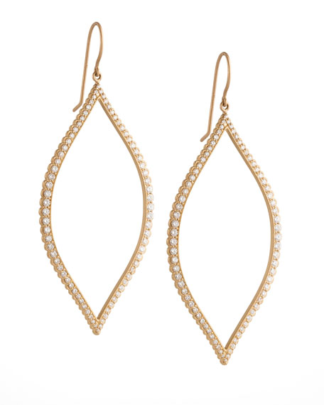 Bezel-Set Diamond Leaf Earrings