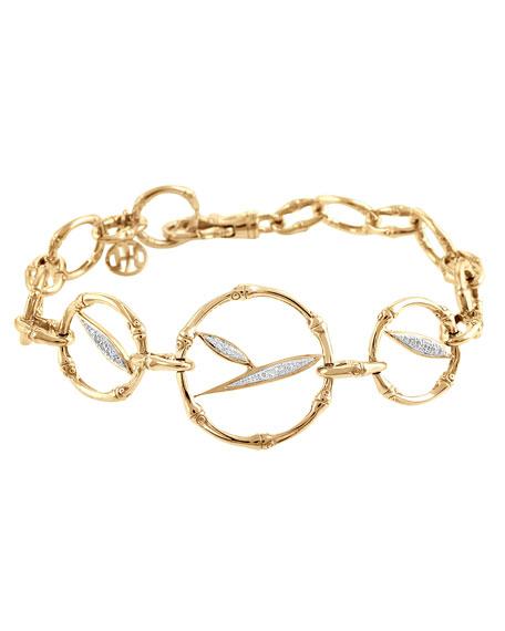 Pave Diamond Bamboo-Link Bracelet