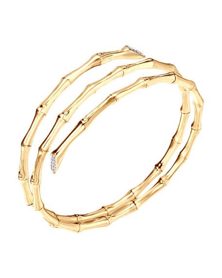 Gold Pave Diamond Triple Coil Bracelet