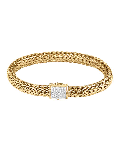 John Hardy Classic Chain Gold Diamond Bracelet, Medium