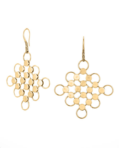 18k Gold Dot Square Earrings