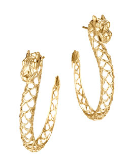 John Hardy Gold Naga Hoop Earrings