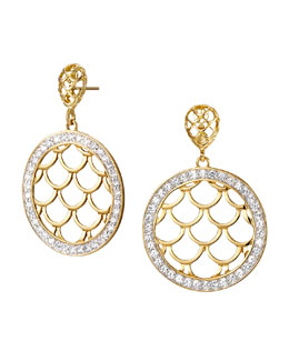 John Hardy Pave Sapphire Naga Drop Earrings