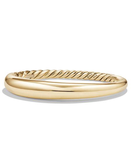 David Yurman 9.5mm Pure Form Large Smooth Bracelet in 18K Gold, Size M