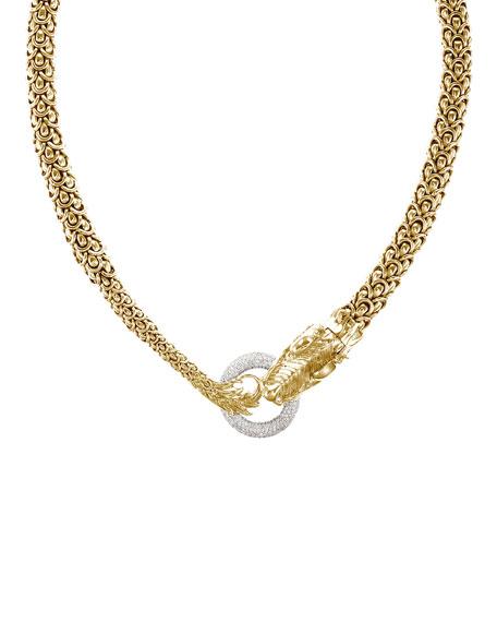 Gold Naga Dragon Diamond O-Ring Necklace