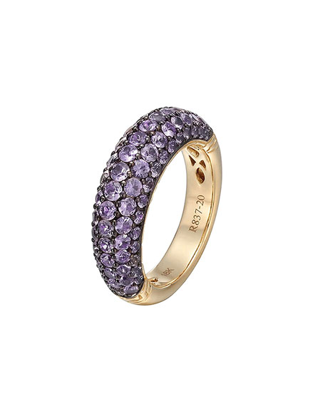 Gold Classic Chain Amethyst Slim Dome Ring