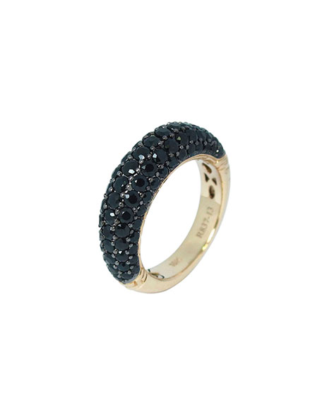 Gold Classic Chain Black Sapphire Slim Dome Ring