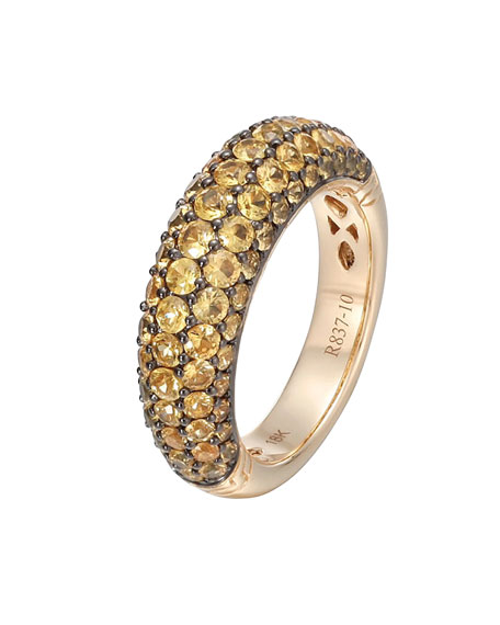 Gold Classic Chain Yellow Sapphire Slim Dome Ring