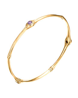 John Hardy Gold Bamboo Amethyst Bangle