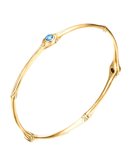 Gold Bamboo Swiss Blue Topaz Bangle