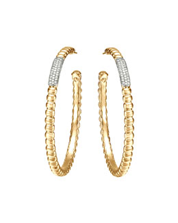 John Hardy Gold Bedeg Pave Diamond Large Hoop Earrings