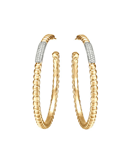 John Hardy Gold Bedeg Pave Diamond Large Hoop