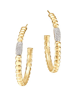 John Hardy Gold Bedeg Pave Diamond Medium Hoop Earrings
