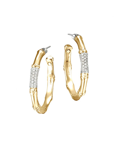 John Hardy Gold Bamboo Pave Diamond Medium Hoop