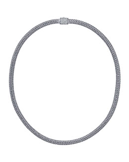 John Hardy Classic Chain Silver & Pave Diamond Necklace