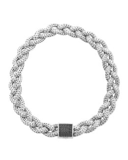 John Hardy Classic Chain Silver with Black Sapphire Braided Necklace