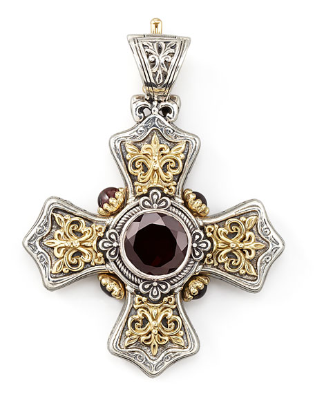 Garnet Cross Pendant
