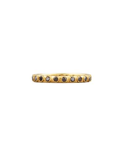 Armenta Slim Eternity Black Diamond Gold Band Ring