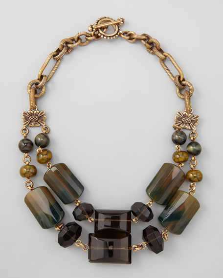 Double-Strand Green Agate Necklace