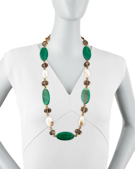 Green Agate & White Shell Necklace