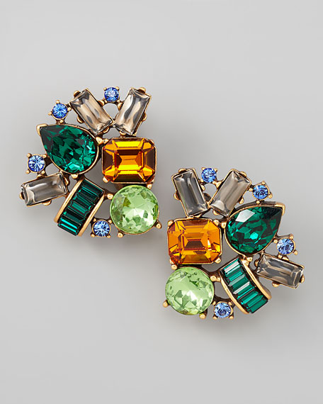 Crystal Cluster Clip Earrings, Multicolor