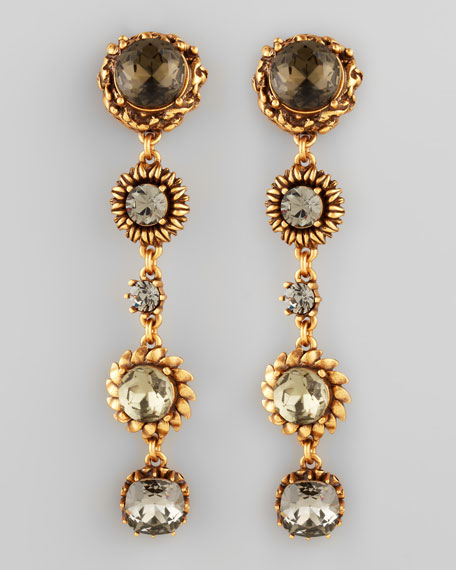 Five-Stone Floral Drop Earrings, Black
