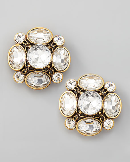 Crystal Flower Button Clip Earrings, Clear