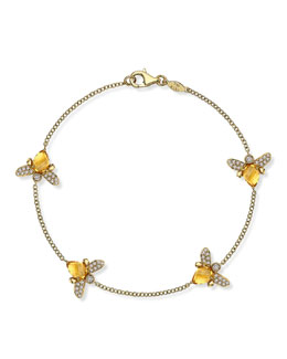 Kiki McDonough Eve 18k Gold Citrine & Diamond Bee Bracelet