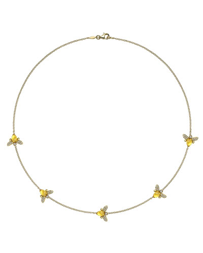 "Kiki McDonough Eve Citrine & Diamond Bee Necklace, 17""L"