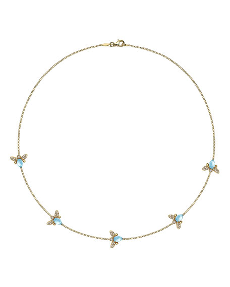 "Eve Blue Topaz & Diamond Bee Necklace, 17""L"