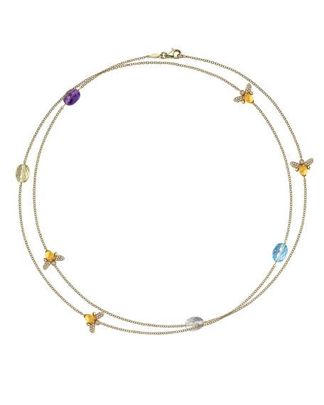 "Eve Multi-Stone Bee Necklace, 34""L"