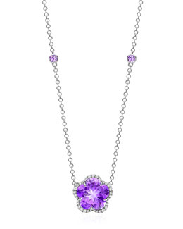 Kiki McDonough Grace Flower Amethyst & Diamond Pendant Necklace