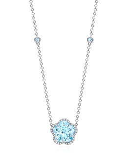 Kiki McDonough Grace Flower Blue Topaz & Diamond Necklace