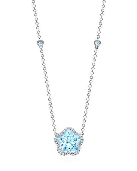 Kiki McDonough Grace Flower Blue Topaz & Diamond