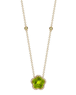 Kiki McDonough Grace Flower Green Peridot & Diamond Necklace