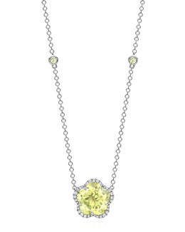 Kiki McDonough Grace Flower Lemon Quartz & Diamond Necklace