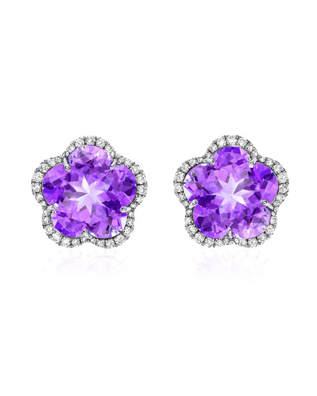 Grace Flower Amethyst & Diamond Earrings