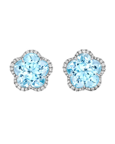 Grace Flower Blue Topaz & Diamond Earrings