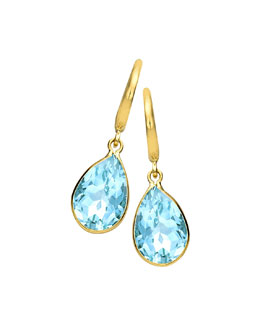 Kiki McDonough 18k Gold Eternal Blue Topaz Teardrop Earrings